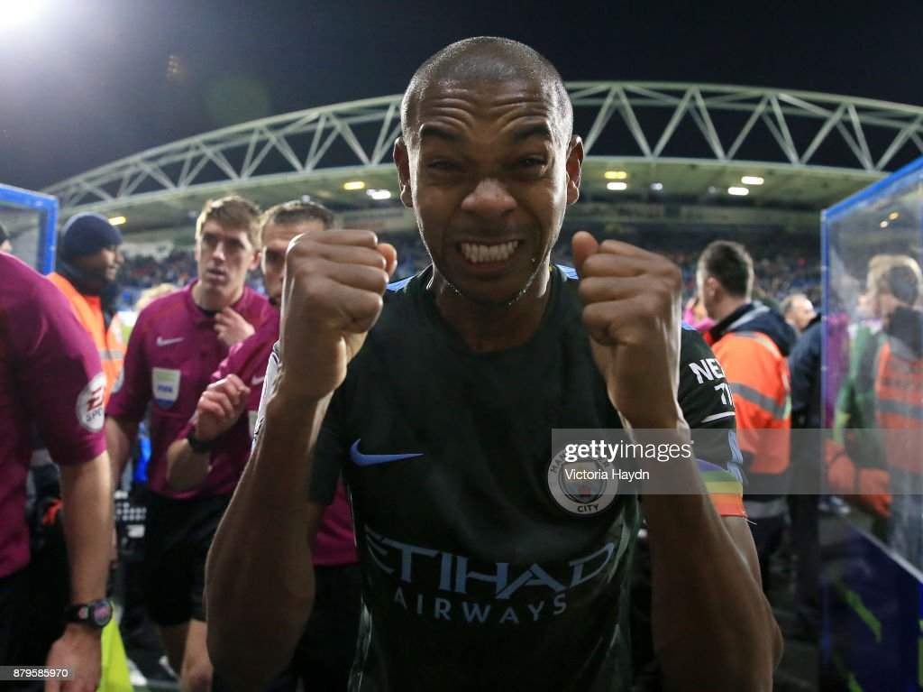 Fernandinho of Manchester City celebrates after the Premier League match between Huddersfield Town and Manchester City at John Smith's Stadium on November 26, 2017 in Huddersfield, England.
