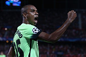 Fernandinho of Manchester City celebrates as he scores their second during the UEFA Champions League Group D match between Sevilla FC and Manchester...