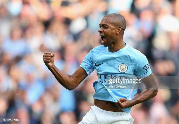 Fernandinho of Manchester City celebrates scoring his sides fifth goal during the Premier League match between Manchester City and Stoke City at...