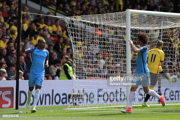 Fernandinho of Manchester City celebrates scoring his sides fourth goal with Leroy Sane of Manchester City during the Premier League match between...