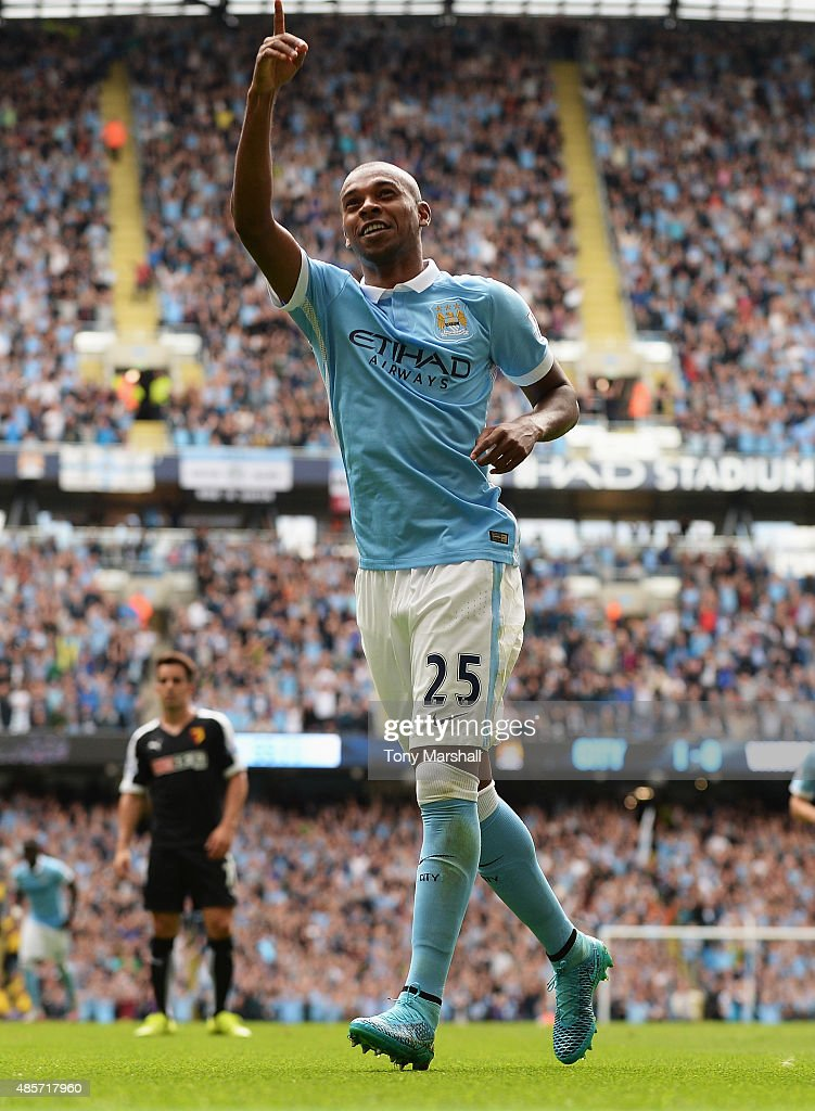 Fernandinho of Manchester City celebrates scoring his team's second goal during the Barclays Premier League match between Manchester City and Watford at Etihad Stadium on August 29, 2015 in Manchester, England.