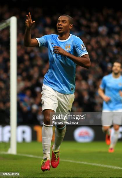 Fernandinho of Manchester City celebrates scoring their fifth goal during the Barclays Premier League match between Manchester City and Arsenal at...
