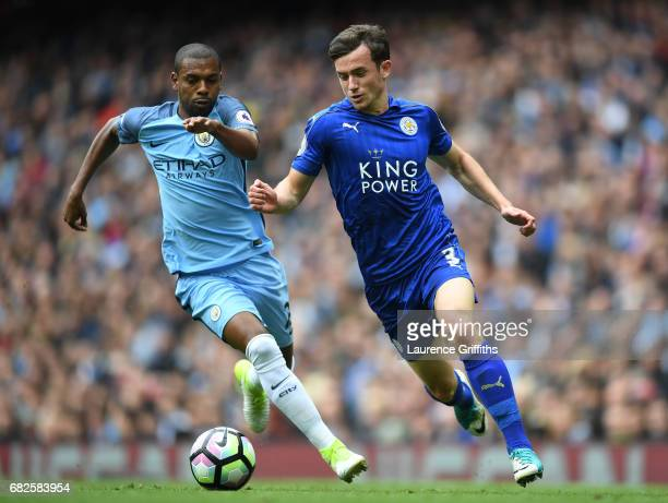 Fernandinho of Manchester City puts pressure on Ben Chilwell of Leicester City during the Premier League match between Manchester City and Leicester...