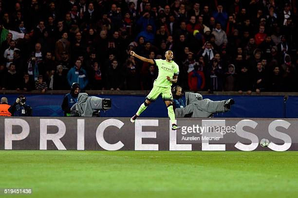 Fernandinho of Manchester City reacts after scoring a goal during the UEFA Champions League Quarter Final first leg game between Paris SaintGermain...