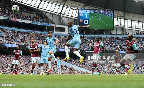 Fernandinho of Manchester City scores a goal to make it 20 during the Premier League match between Manchester City and West Ham United at Etihad...