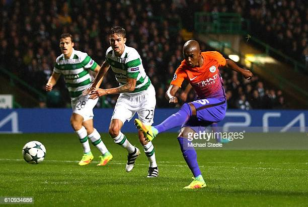 Fernandinho of Manchester City scores his team's first goal during the UEFA Champions League group C match between Celtic FC and Manchester City FC...