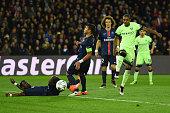 Fernandinho of Manchester City scores his team's second goal during the UEFA Champions League Quarter Final First Leg match between Paris...