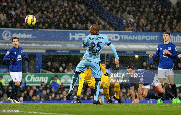 Fernandinho of Manchester City scores the opening goal during the Barclays Premier League match between Everton and Manchester City at Goodison Park...
