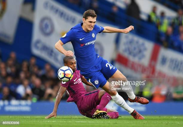 Fernandinho of Manchester City tackles Andreas Christensen of Chelsea during the Premier League match between Chelsea and Manchester City at Stamford...