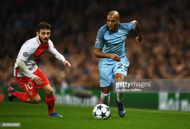 Fernandinho of Manchester City takes on Bernardo Silva of AS Monaco during the UEFA Champions League Round of 16 first leg match between Manchester...