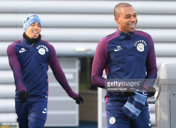 Fernandinho reacts during training at Manchester City Football Academy on December 12 2017 in Manchester England