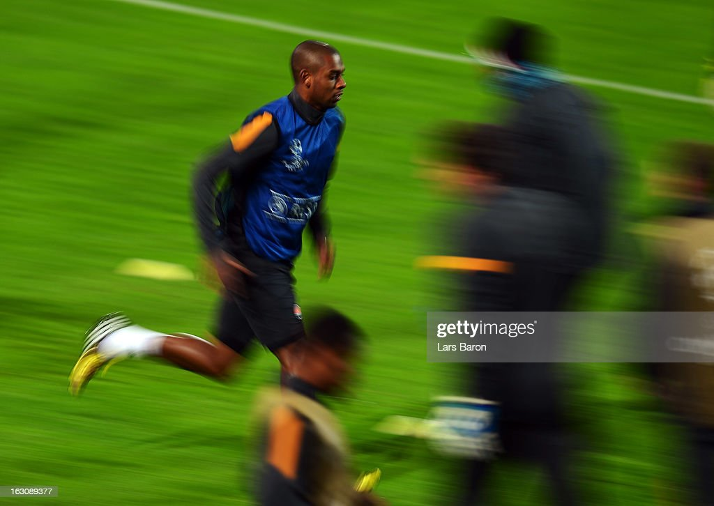 Fernandinho warms up during a FC Shakhtar Donetsk training session ahead of their UEFA Champions League round of 16 match against Borussia Dortmund on March 4, 2013 in Dortmund, Germany.