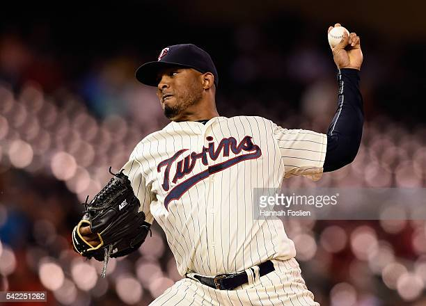 Fernando Abad of the Minnesota Twins delivers a pitch against the Philadelphia Phillies during the ninth inning of the game on June 22 2016 at Target...