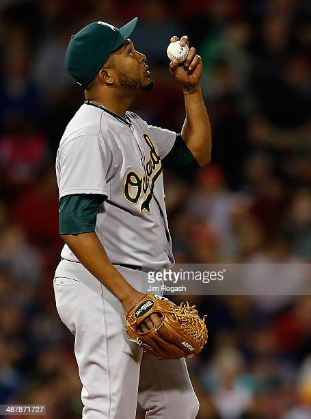 Fernando Abad of the Oakland Athletics gestures before throwing in relief in the fifth inning against the Boston Red Sox at Fenway Park on May 2 2014...