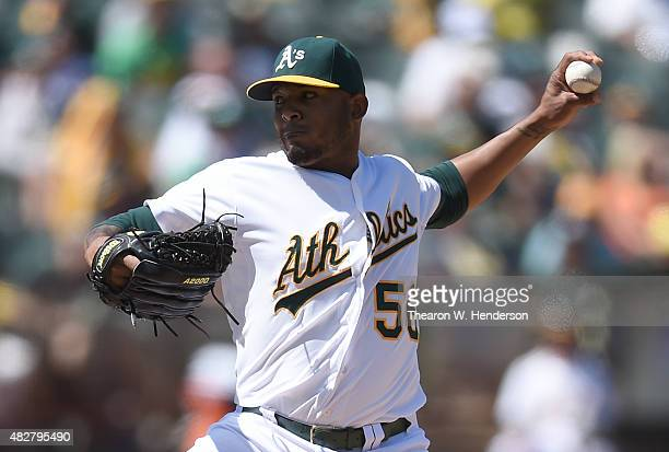 Fernando Abad of the Oakland Athletics pitches against the Cleveland Indians in the top of the eighth inning at Oco Coliseum on August 2 2015 in...