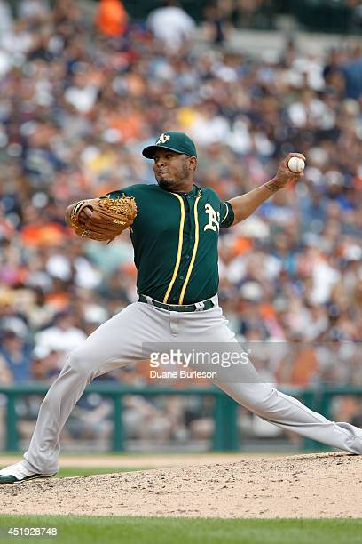 Fernando Abad of the Oakland Athletics pitches against the Detroit Tigers at Comerica Park on July 2 2014 in Detroit Michigan