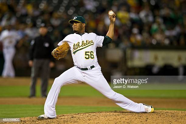 Fernando Abad of the Oakland Athletics pitches against the Houston Astros during the eleventh inning at Oco Coliseum on July 22 2014 in Oakland...