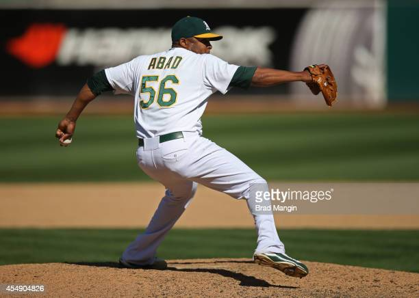 Fernando Abad of the Oakland Athletics pitches against the Houston Astros during the game at Oco Coliseum on Sunday September 7 2014 in Oakland...