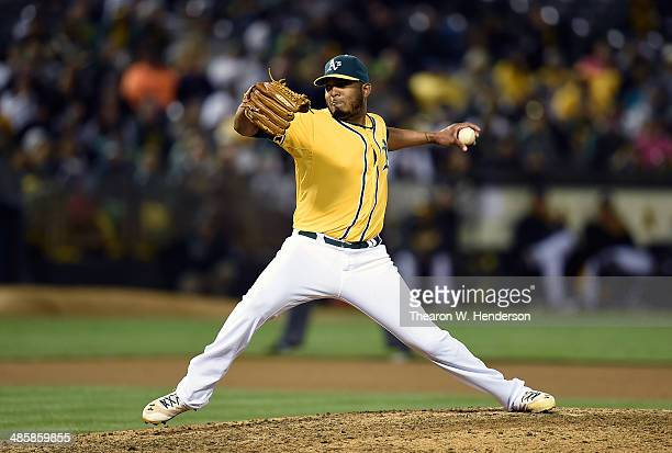 Fernando Abad of the Oakland Athletics pitches against the Houston Astros at Oco Coliseum on April 18 2014 in Oakland California