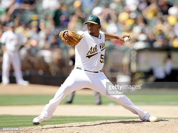 Fernando Abad of the Oakland Athletics pitches against the New York Mets at Oco Coliseum on August 20 2014 in Oakland California