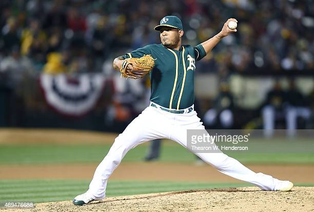 Fernando Abad of the Oakland Athletics pitches against the Seattle Mariners in the top of the eighth inning at Oco Coliseum on April 10 2015 in...