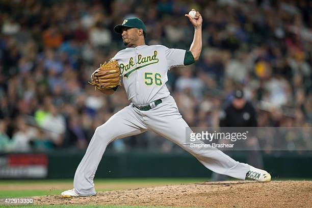 Fernando Abad of the Oakland Athletics pitches against the Seattle Mariners at Safeco Field on May 8 2015 in Seattle Washington The Mariners won the...
