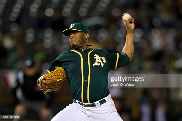 Fernando Abad of the Oakland Athletics pitches against the Seattle Mariners during the seventh inning at Oco Coliseum on April 3 2014 in Oakland...