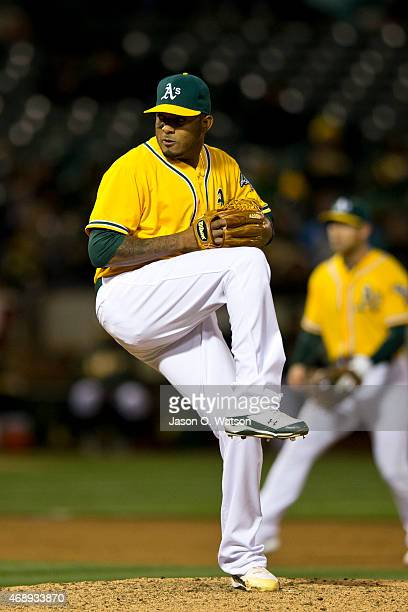 Fernando Abad of the Oakland Athletics pitches against the Texas Rangers during the ninth inning at Oco Coliseum on April 7 2015 in Oakland...