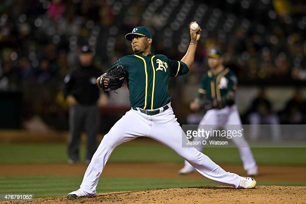 Fernando Abad of the Oakland Athletics pitches against the Texas Rangers during the seventh inning at Oco Coliseum on June 10 2015 in Oakland...