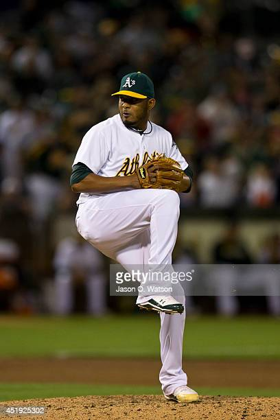 Fernando Abad of the Oakland Athletics pitches against the Toronto Blue Jays during the ninth inning at Oco Coliseum on July 5 2014 in Oakland...