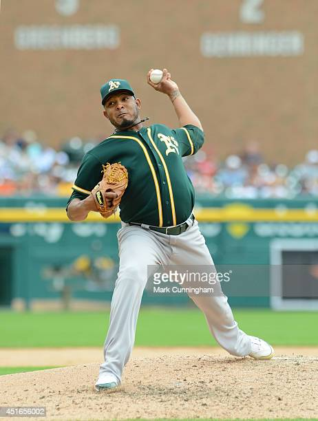 Fernando Abad of the Oakland Athletics pitches during the game against the Detroit Tigers at Comerica Park on July 2 2014 in Detroit Michigan The...