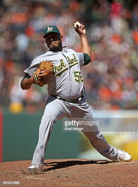 Fernando Abad of the Oakland Athletics pitches during the game against the San Francisco Giants at ATT Park on Thursday July 10 2014 in San Francisco...