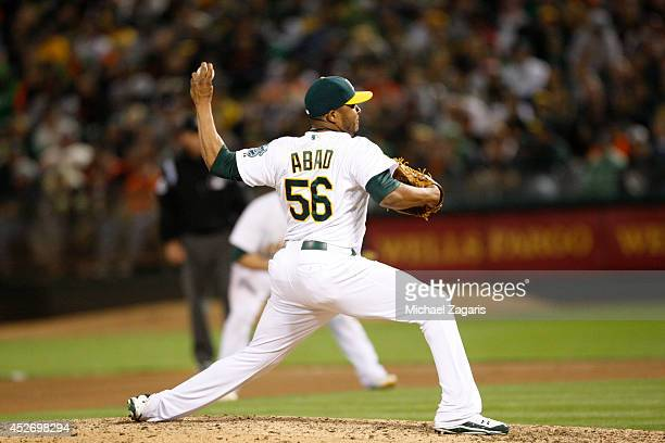 Fernando Abad of the Oakland Athletics pitches during the game against the San Francisco Giants at Oco Coliseum on July 7 2014 in Oakland California...