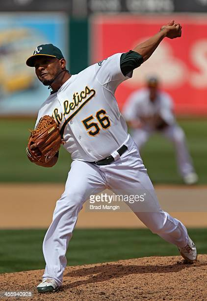 Fernando Abad of the Oakland Athletics pitches during the game against the New York Mets at Oco Coliseum on Wednesday August 20 2014 in Oakland...