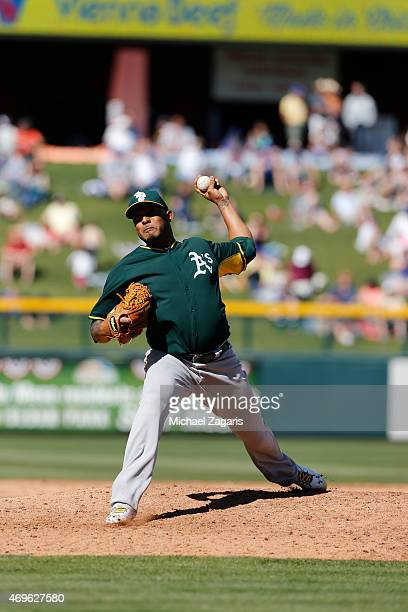 Fernando Abad of the Oakland Athletics pitches during the game against the Chicago Cubs at Solan Park on March 5 2015 in Mesa Arizona