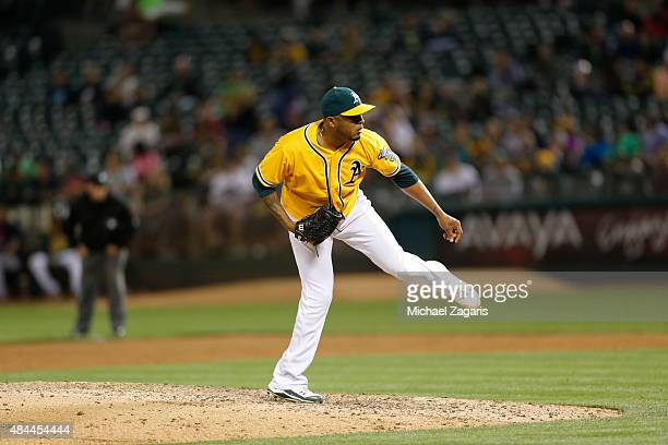 Fernando Abad of the Oakland Athletics pitches during the game against the Cleveland Indians at Oco Coliseum on July 30 2015 in Oakland California...