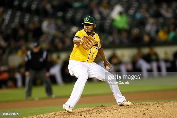 Fernando Abad of the Oakland Athletics pitches during the game against the Seattle Mariners at Oco Coliseum on May 5 2014 in Oakland California The...