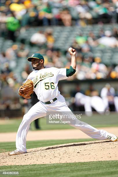 Fernando Abad of the Oakland Athletics pitches during the game against the Seattle Mariners at Oco Coliseum on May 7 2014 in Oakland California The...