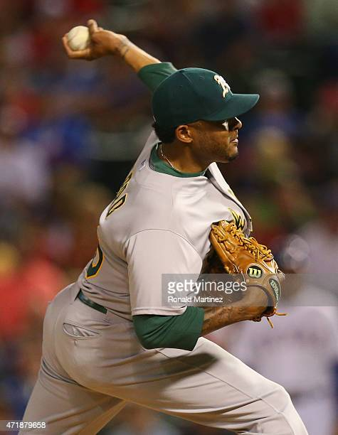 Fernando Abad of the Oakland Athletics throws against the Texas Rangers in the seventh inning at Globe Life Park in Arlington on May 1 2015 in...