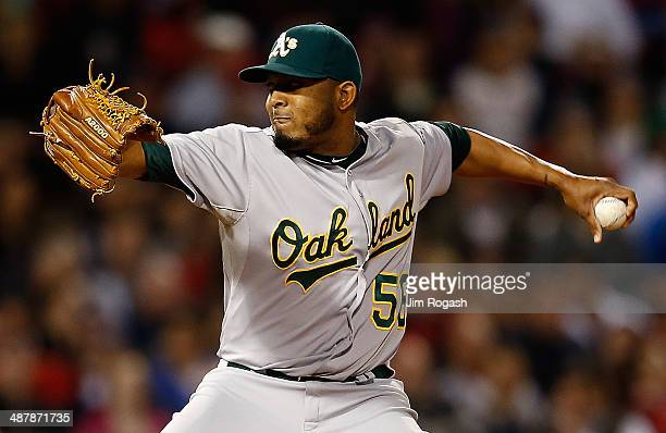 Fernando Abad of the Oakland Athletics throws in relief in the fifth inning against the Boston Red Sox at Fenway Park on May 2 2014 in Boston...