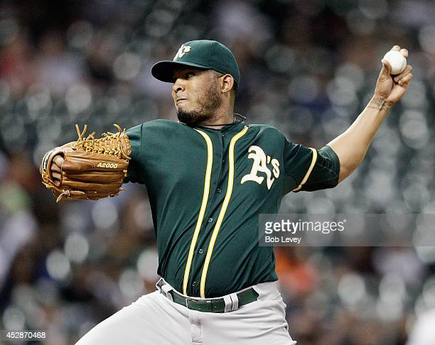 Fernando Abad of the Oakland Athleticsn pitches in the eighth inning against the Houston Astros at Minute Maid Park on July 28 2014 in Houston Texas