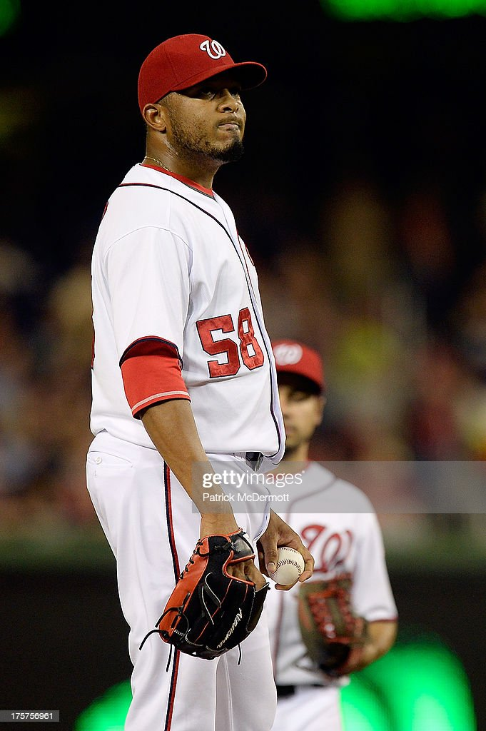<a gi-track='captionPersonalityLinkClicked' href=/galleries/search?phrase=Fernando+Abad&family=editorial&specificpeople=6767746 ng-click='$event.stopPropagation()'>Fernando Abad</a> #58 of the Washington Nationals reacts in the seventh inning during a game against the Atlanta Braves at Nationals Park on August 7, 2013 in Washington, DC.
