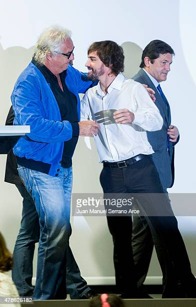 Fernando Alonso and Flavio Briatore during the inaugurated the Fernando Alonso Museum on June 26 2015 in Oviedo Spain