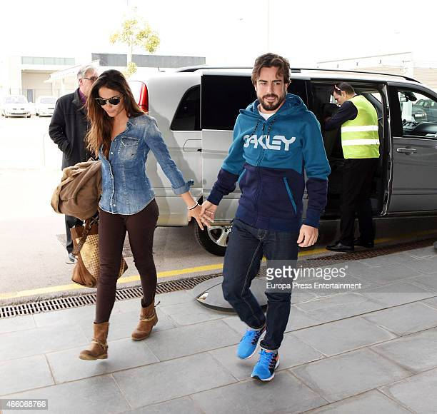 Fernando Alonso and Lara Alvarez are seen arriving in Oviedo from Barcelona hospital on February 25 2015 in Oviedo Spa