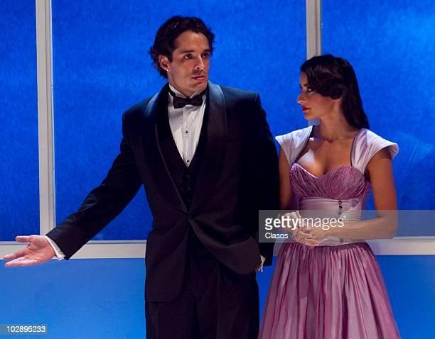 Fernando Alonso and Paola Nunez in action during the Cinco Mujeres Usando el Mismo Vestido presentation at Telon de Asfalto Theater on July 13 2010...