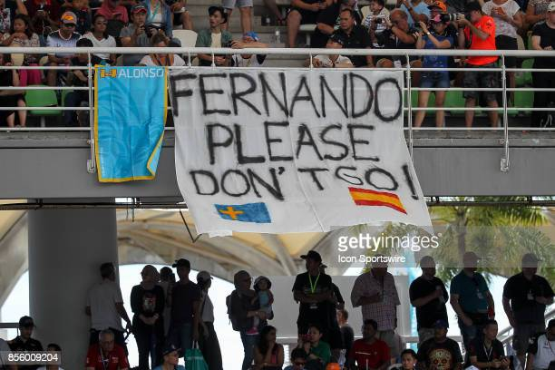 Fernando Alonso banner during the saturday's practice session of the Formula 1 Petronas Malaysia Grand Prix held at Sepang International Circuit in...