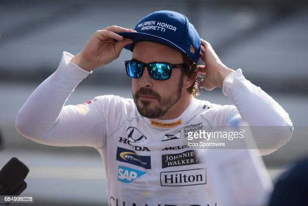 Fernando Alonso following the fourth day of practice for the 101st Indianapolis on May 18 at the Indianapolis Motor Speedway in Indianapolis IN