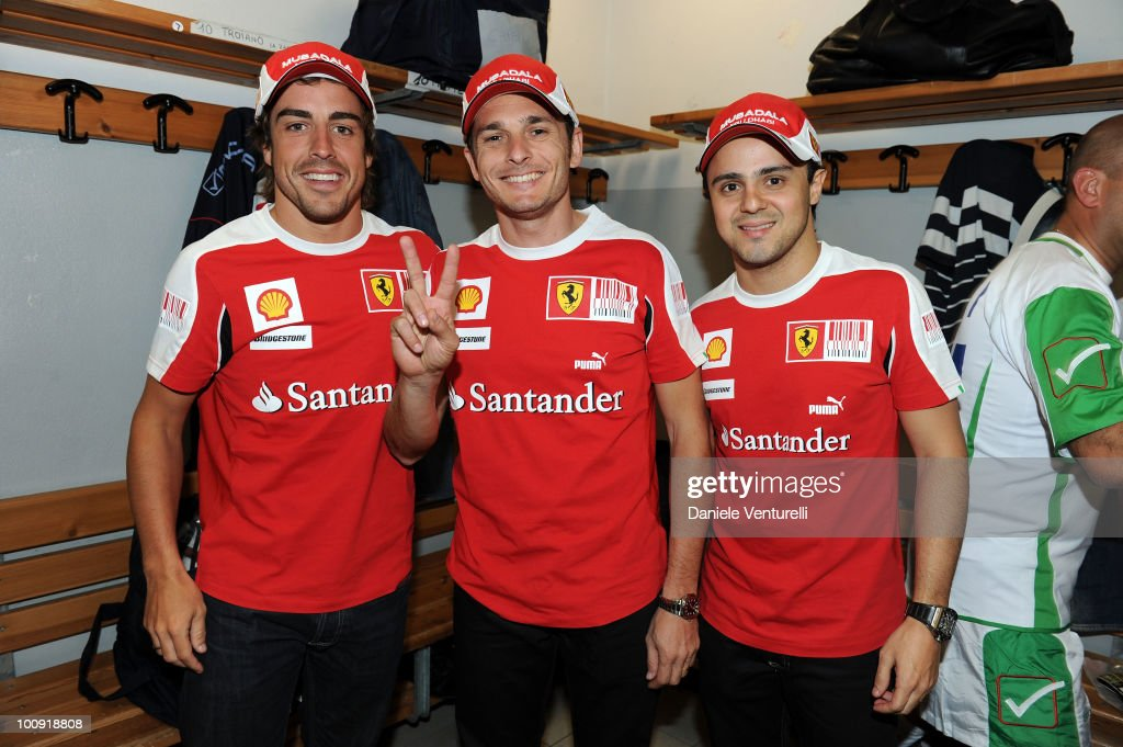 ACCESS** (L-R) Fernando Alonso, <a gi-track='captionPersonalityLinkClicked' href=/galleries/search?phrase=Giancarlo+Fisichella&family=editorial&specificpeople=201672 ng-click='$event.stopPropagation()'>Giancarlo Fisichella</a> and <a gi-track='captionPersonalityLinkClicked' href=/galleries/search?phrase=Felipe+Massa&family=editorial&specificpeople=206660 ng-click='$event.stopPropagation()'>Felipe Massa</a> attend the XIX Partita Del Cuore charity football game at on May 25, 2010 in Modena, Italy.