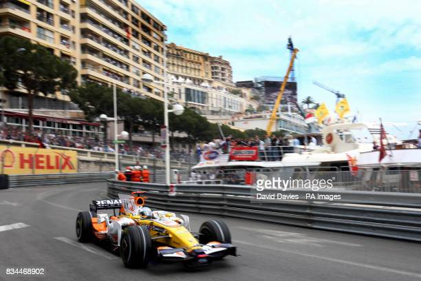 Fernando Alonso in his Renault during Qualifying in Monte Carlo Monaco