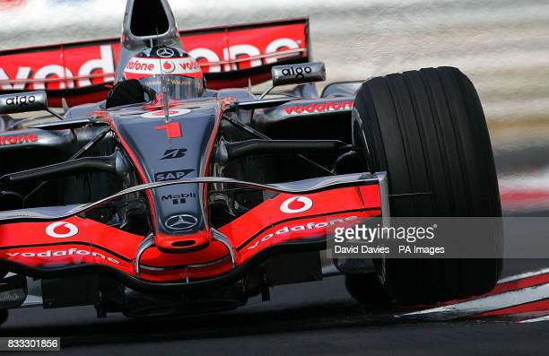 Fernando Alonso in the Vodafone Mclaren Mercedes MP4/22 during qualifying at the Hungaroring circuit near Budapest Hungary
